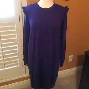 Purple ruffle sweater dress